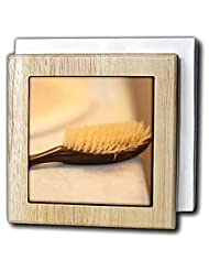 A hair brush on a bathroom counter - 6 Inch Tile Napkin Holder by 3dRose