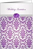 Wedding Invitation - Damask pattern purple with amethyst picture Card
