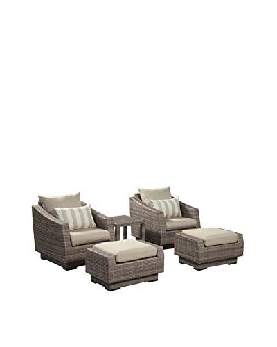 RST Brands Cannes 5-Piece Club Chair & Ottoman Set, Grey