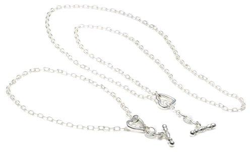 Silver Open Heart+T-Bar 44cm chain + 19 cm bracelet set