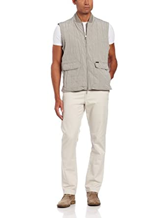 Faconnable Men's Blue Label Quilted Vest, Beige, Medium