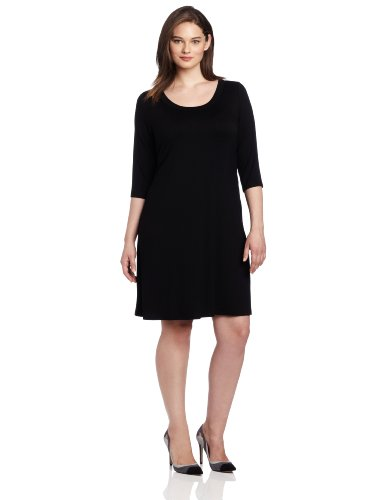 Karen Kane Plus-Size 3/4 Sleeve A-Line Dress, Black, 1X