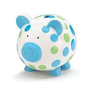 Hand painted ceramic piggy bank blue and green polka dot piggy bank adorable baby - Ceramic piggy banks for boys ...
