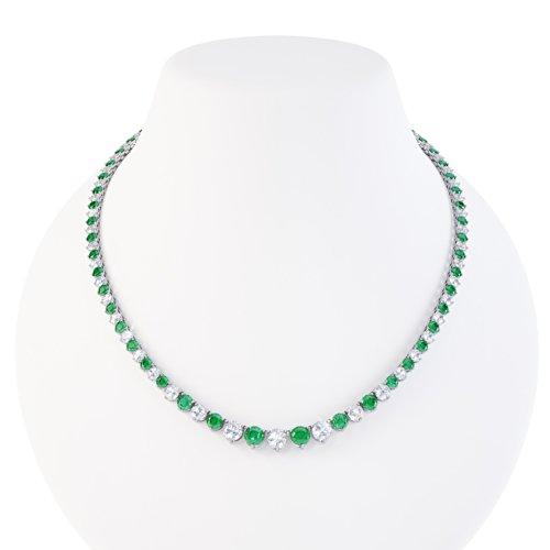 Jian London Stardust Smaragd und Diamant Damen-Halskette Collier - 43cm - Silber - Weißgold