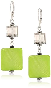 "Kenneth Cole New York ""Shell Brilliance"" Lime Green Shell and Faceted Bead Double Drop Earrings"