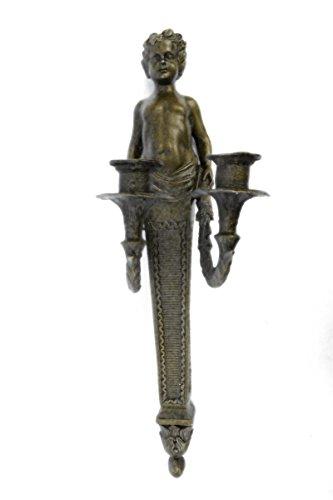 44x13 cm...4 kg...Spedizione Gratuita...Original Aldo Vitaleh Young Nude Boy Wall Candle Holder (YRD-356-UK) statua scultura statue in bronzo figurine figurine nude sculture arredamento da collezione primo vendita affare regali