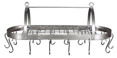 Cheap HSM Stainless Steel Oval Ceiling Mounted Pot Rack with Grid 18 Hooks (HM-HD30B-WG)