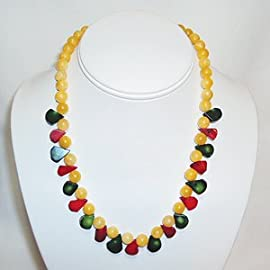 Rasta Colors Necklace Calcite-with-Red-and-Green-Rain-Drop-Coral-17.5-inches