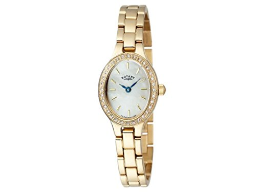 Rotary Womens Ladies LB0001240 Gold Plated Oval Watch