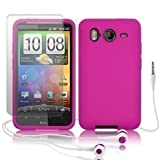 Silikon Schutzhülle Pink Mit Displayschutzfolie + Kopfhörer Für HTC Desire HD - Teil Der Consumer Store Ersatzteile Reihe