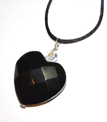 Black Faceted Stone Heart Pendant Necklace by SilverChicks