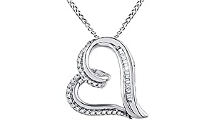 Round and Baguette Diamond Heart Pendant in 14K White Gold Over Sterling Silver (1/6 cttw)