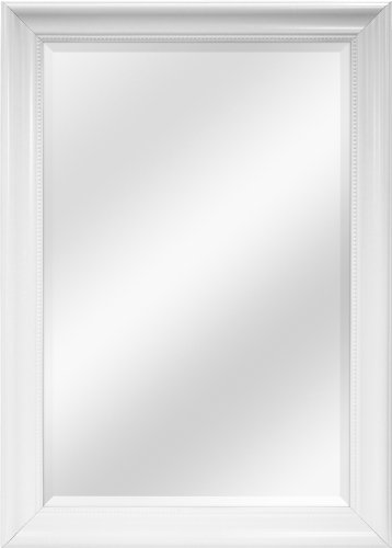 MCS White Beaded Rectangular Wall Mirror, 30-Inch by 42-Inch
