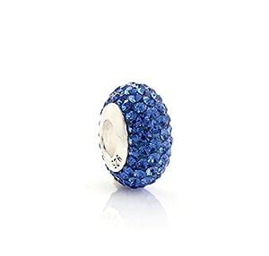 925 Sterling Silber Kristall Bead blau 14 mm