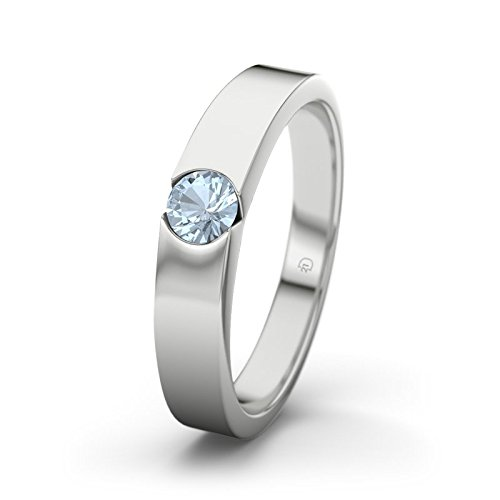 21DIAMONDS Women's Ring Jessica Blue Topaz Brilliant Cut Engagement Ring - 18ct White Gold Engagement Ring