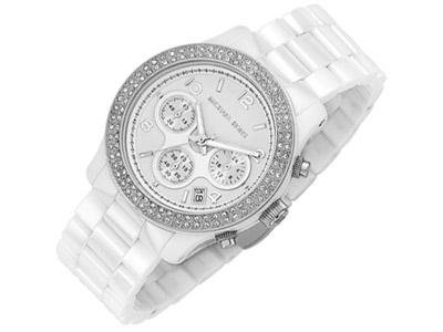 Michael Kors Mk5188 Ladies Watch with White Ceramic Bracelet, Stone Set Case and White Dial