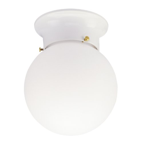Westinghouse 6660700 One-Light Flush-Mount Interior Ceiling Fixture, White Finish with White Glass Globe (Angelo Bros Company compare prices)