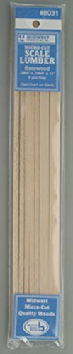 Midwest Micro-Cut Basswood Scale Lumber .1664 x .1664 x 11 - pack of 9