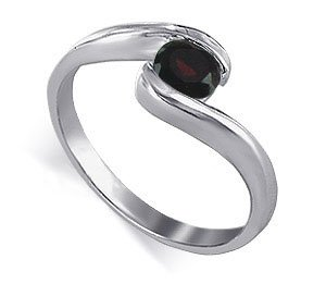 Sterling Silver Round Shaped Garnet Cubic Zirconia Solitaire Polished Finish 2mm Wide Band Promise Ring Size 9