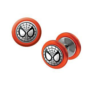316L Surgical Steel Spiderman Fake Plugs