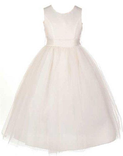 Sweet Kids Girls Satin & Tulle Dress ~ 8 Iv Ivory (Sk 2772) front-11067