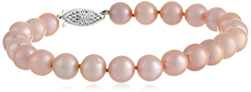 Pink Freshwater Cultured A Quality 7.5-8Mm Pearl Bracelet, 8""