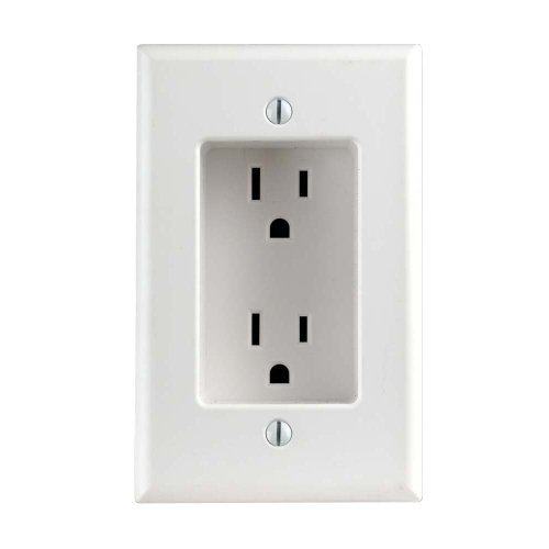 Leviton 689-W 15 Amp 1-Gang Recessed Duplex Receptacle, Residential Grade, with Screws Mounted to Housing, White