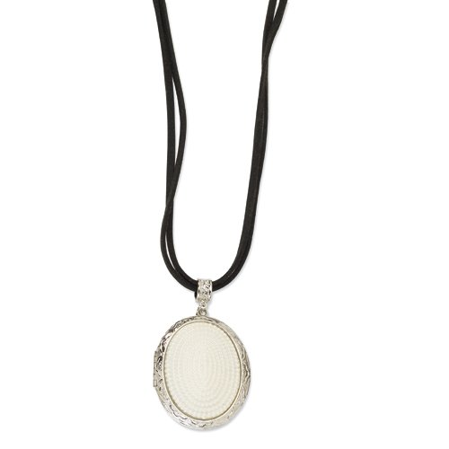 Silver-tone Glass Pearl Oval Locket on 30