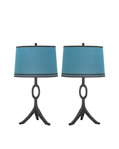 Safavieh Set of 2 The Packwood Table Lamps, Blue