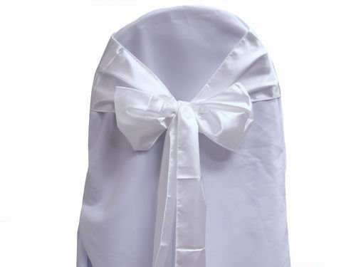 White Satin Wedding Chair Sash Bows (Set of 10)