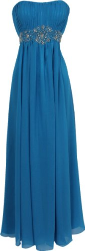 Strapless Chiffon Goddess Long Gown Prom Dress Formal Bridesmaid Junior Plus Size, Size: Small, Color: Blue