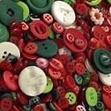 Pacco Di Bottoni Vari Misti Da 50gr. Colr Rosso, Verde e Bianco Misto. Diverse Forme, Misure E Tonalità. Per Lavori Creativi Di Cucito, Quilting, Patchwork, Gioielleria.