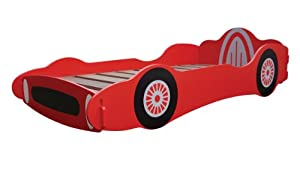KIDSAW BOYS 3FT SINGLE BRIGHT RED RACING CAR BED BY CENTURION PINE