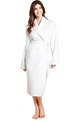 Pure Cotton Shawl Collar Waffle Dressing Gown with Towelling Lining