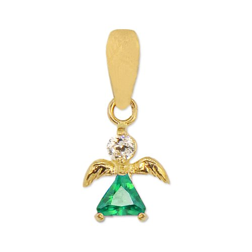 14k Yellow Gold, Mini Angel Pendant Charm May Green Lab Created Gems