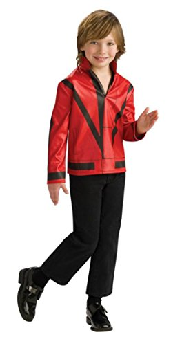 [Boys Mj Red Thriller Jckt Kids Child Fancy Dress Party Halloween Costume, S (4-6)] (Mj Thriller Halloween Costume)