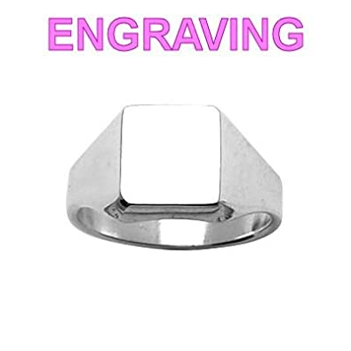 So Chic Jewels - 925 Sterling Silver Rectangular Signet Ring - Your Message Engraved Free