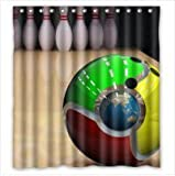 カスタマイズ interesting bowling 面白いボーリング画像 浴簾 シャワー カーテン PEVA 防水防カビ加工 カーテンリング付属(165x180センチ) [並行輸入品]
