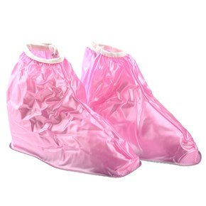 602 Reusable Foldable Zippered Non-Slip Pvc Rainproof Overshoes Shoe Covers For Children - Size Optional (Pink) front-514909