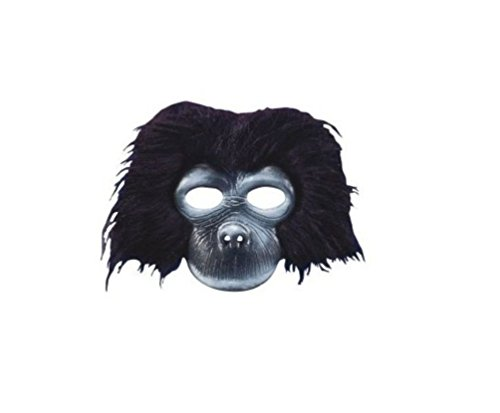 Mememall Black Gorilla Half Mask Fun Fur Latex Animal Costume Jungle King Kong