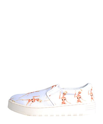 Jeffrey Campbell Slip On-2 Barbie White - Mocassino Bianco In Tela Con Stampa