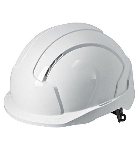 JSP EVOLite Casco di sicurezza con un tocco 3D antiscivolo e sistema di regolazione a cricchetto, ventilato, corto Peak, EN397, colore: bianco
