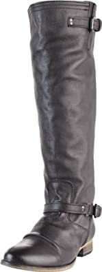 Steve Madden Women's Rovvee Knee-High Boot,Black Leather,6 M US