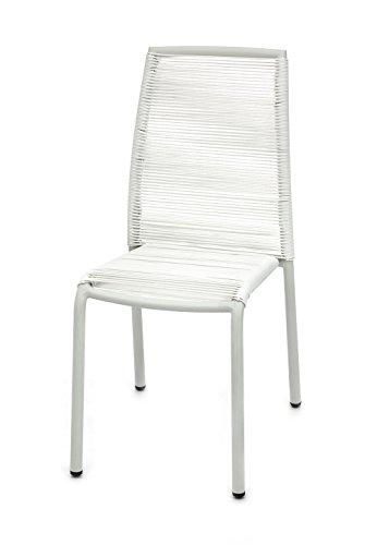 Tomasucci Kely Set 2 Sedie da Interno/Esterno, Cordoncino in PVC, Bianco