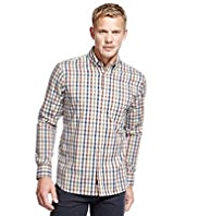 Blue Harbour Luxury Pure Cotton Marl Grid Checked Oxford Shirt