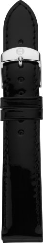 MICHELE MS16AA050001 16mm Patent Leather Black Watch Strap