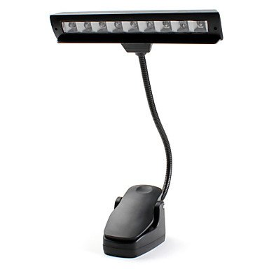 9-Led Natural White Light Table Bed Reading Lamp With Clip (3Xaa/Usb)