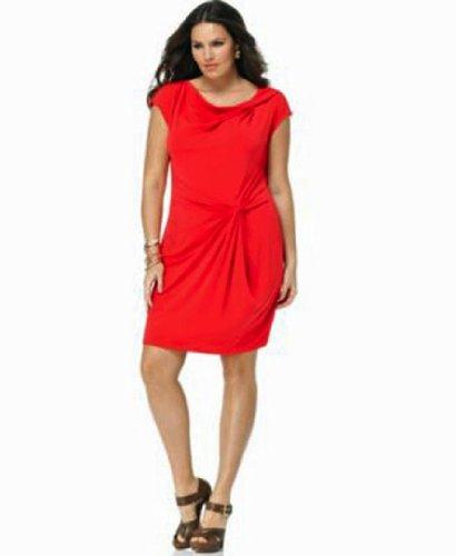 Michael Kors Dress, Short Sleeve Cowl Twist Dress W/ Knot Front Red 3X