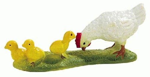 Bullyland White Hen with Chicks Plastic Toy Figure