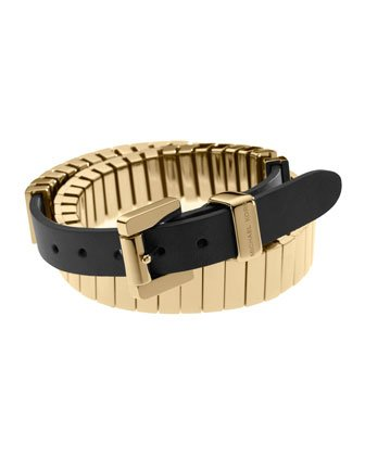 Michael Kors Mkj2266 Gold Double Wrap Bracelet With Black Leather Band